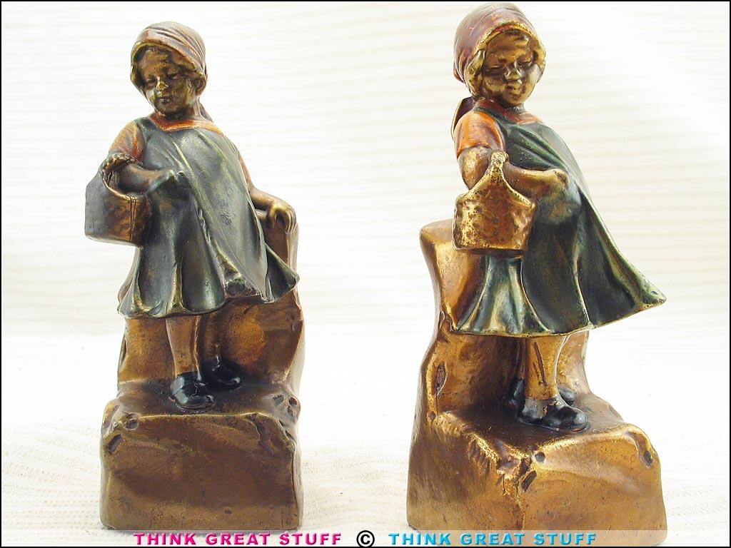 21001245 basket case girl child armor bronze antique bookends think great stuff - Armor bronze bookends ...