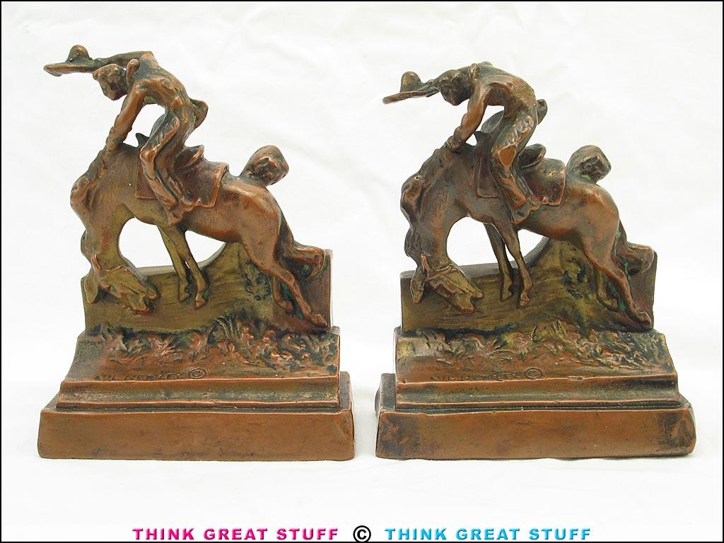 21001313 ride em cowboy pompeian bronze antique bookends think great stuff - Antique brass bookends ...
