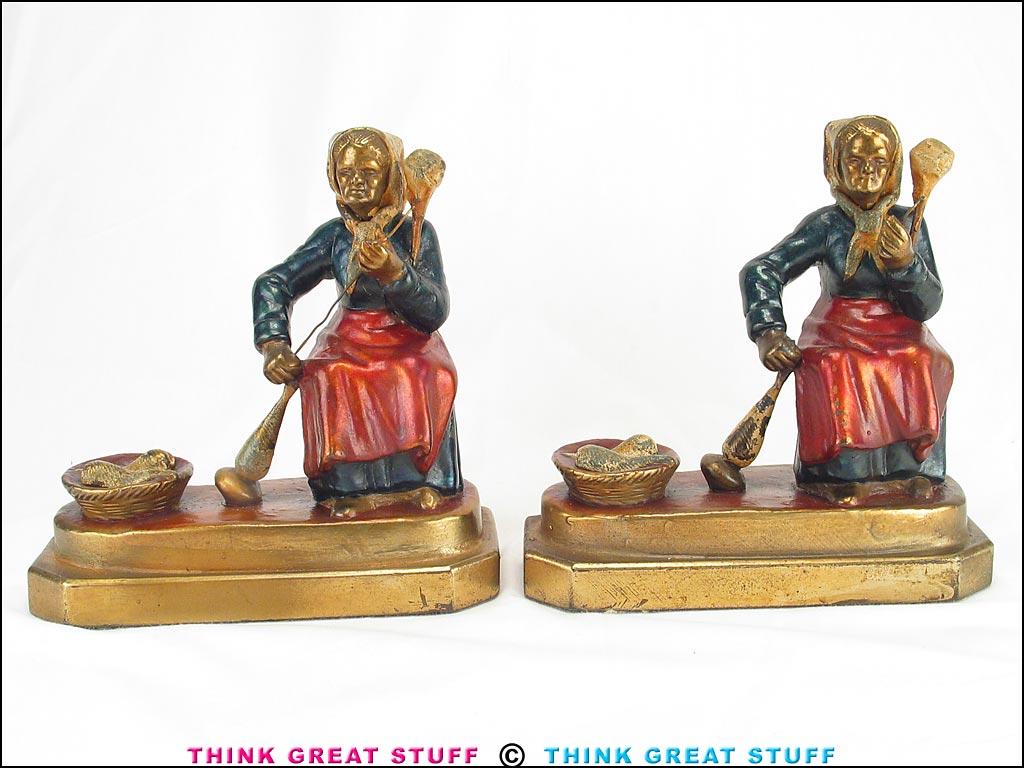 21001324 woman spinning yarn armor bronze antique bookends think great stuff - Armor bronze bookends ...